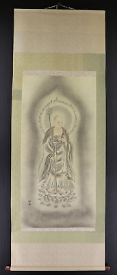 """JAPANESE HANGING SCROLL ART Painting """"Buddhism"""" Asian antique  #E2952"""