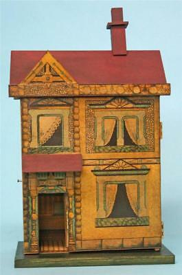 """Jean Nordquist's Bliss Replica 11-1/2""""H front opening DOLLHOUSE with wallpaper"""