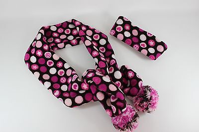 Justice Girls Pink/White/Dark Brown Polka Dots Scarf & Headband...size OS  GUC