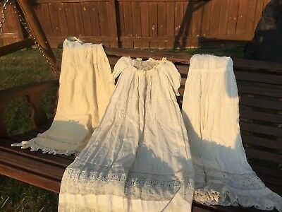 Antique Victorian Baptism Christening 3 Pc Lace Extra Long Gown Baby Doll Dress