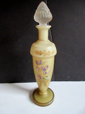 Vtg Satin Glass w Embossed Violets Perfume Bottle