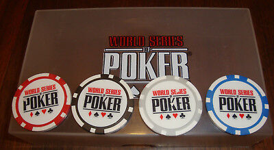 RARE New World Series of Poker Chip Guard Set 4 Chips WSOP Red Black Gray Blue
