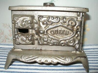 Tiny c. 1900 QUEEN Cast Iron Toy Stove, Nickel-Plated Antique, Dent Hardware