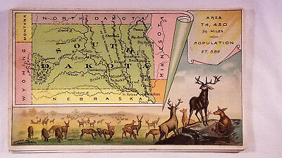 Arbuckles Coffee Card 1892 United States Map South Dakota