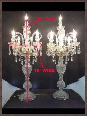 2 Large Leaded Crystal Candelabra Chandelier Table Lamps Spectacular 8 Arms Each
