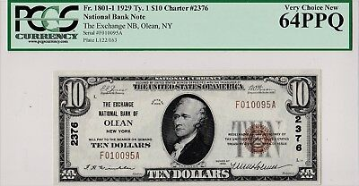 $10 1929 T1 The Exchnage National Bank Of OLEAN New York NY  PCGS 64 PPQ Unc
