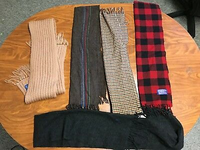 Mens Vintage Lot Of 5 Great Cond Polo Ralph Lauren Pendleton Wool Scarfs Scarves