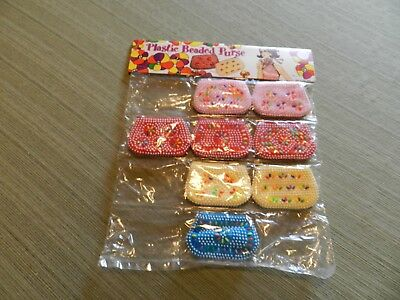 Vintage 1970's Plastic Beaded Coin Purse Lot of 8 In Original Packaging NOS