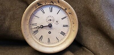 "Early Chelsea Clock Bath Iron Works serial # 4113 circa 1900 6"" silvered dial"