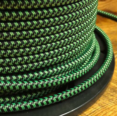Black & Neon Green Cloth Covered 3-Wire Round Cord - Vintage Fabric Power Cable