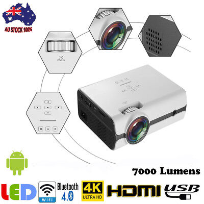 Multimedia HD WiFi Android Bluetooth 3D LED Home Cinema Projector 7000 Lumens AU
