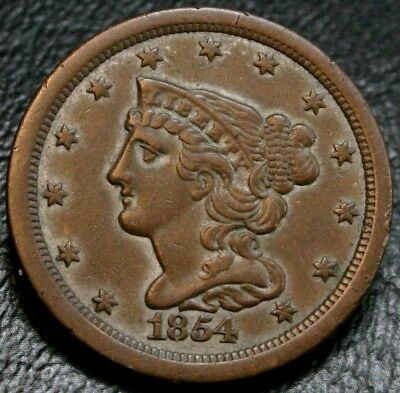 1854 Braided Hair Half Cent AU Almost Uncirculated ~ No Problem 1/2C Copper Coin