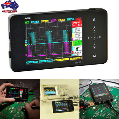 DS202 Digital Oscilloscope 2channel USB Interface Full Color TFT 8MB 1MHz Mini
