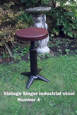 Vintage Antique Singer   Sewing Stool - Industrial -Mahogany seat Top