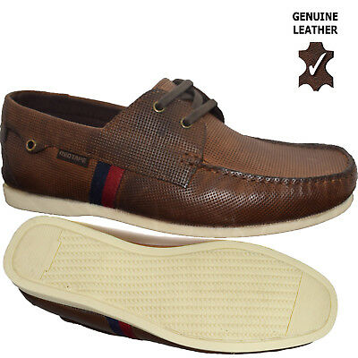 Mens Leather Lace Up Designer Loafers Casual Deck Boat Moccasin Driving Shoes Sz