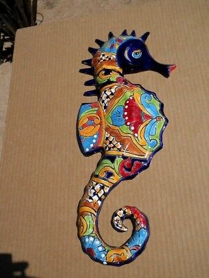 Talavera SEAHORSE wall plaque fish Mexican art pottery beach tropical decor