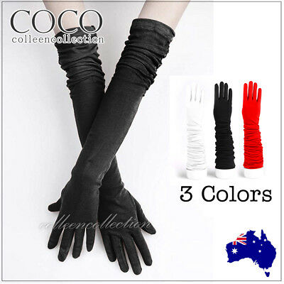 Womens Long Satin Wedding Gloves Opera Costume Bridal Party Prom Ladies Glove AU