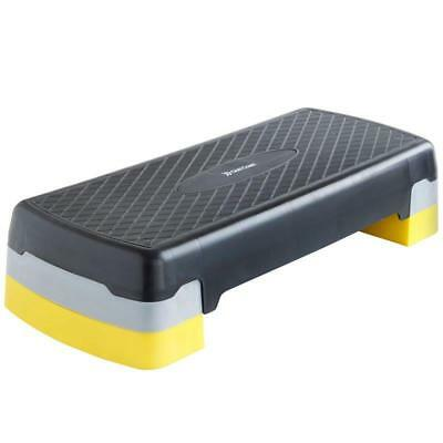 Black Yellow Aerobic Stepper Step Gym Exercise Fitness Adjustable Board Yoga Fxr