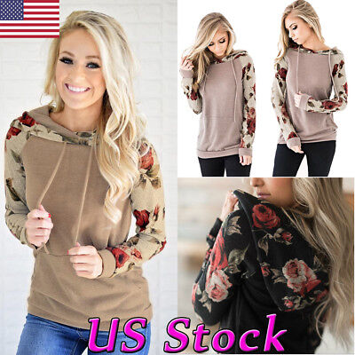 New Women Floral Hoodie Hooded Sweater Long Sleeve Casual Sweatshirt Pullover US