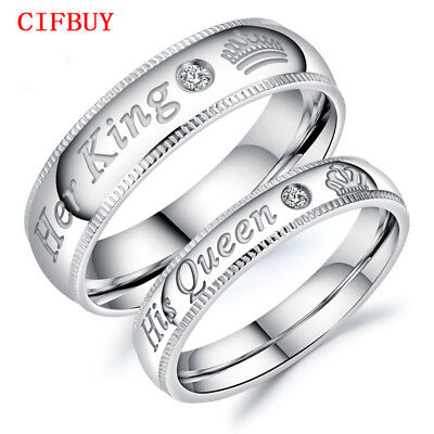 """Romantic Couple Rings """"Her King His Queen"""" Stainless Steel Rings Lovers' Jewelry"""