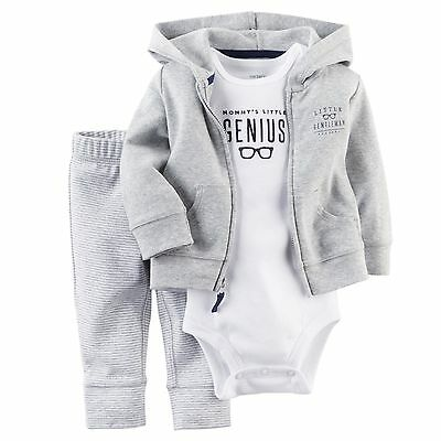 3Pcs Newborn Baby Boy Casual Coat+Romper+Pants Outfits Toddler Warm Clothes Set