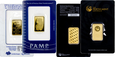 Perth Mint Or Pamp Suisse - 10 Gram Gold Bar .9999 Gold Bullion