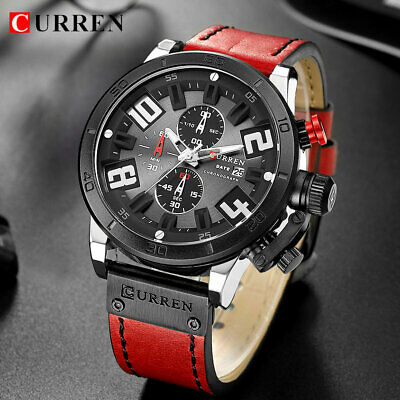 Luxury CURREN Sport Watches Casual Leather Chronograph Gifts For Him Son Dad Men
