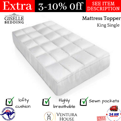 New Goose Down & Feather Mattress Topper -  5cm 1000GSM Soft King Single Size