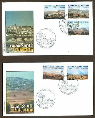 Vatican City Sc# 1107-11, Holy Land in Palestine on 2 First Day Covers