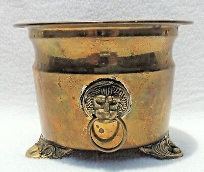 """Antique/Vintage Small 6"""" Solid Brass Lion Head Handles Footed Planter Pot #4790"""