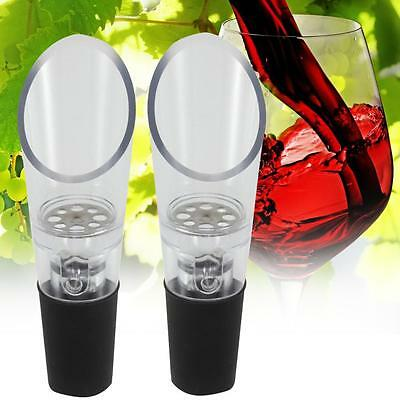2pc White Red Wine Aerator Pour Spout Bottle Stopper Decanter Pourer Aerating F^
