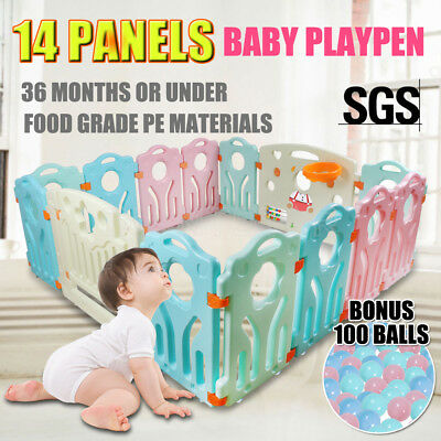 14 Panel Interactive Baby Playpen Kids Toddler Plastic Gate Safety Lock Divider