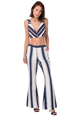 Finders KEEPERS Trousers Size S Striped Pattern Flare Leg FX150963P