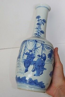 Fine, Antique Chinese Blue & White Figures Vase, Porcelain Kangxi 18Th/19Th.c