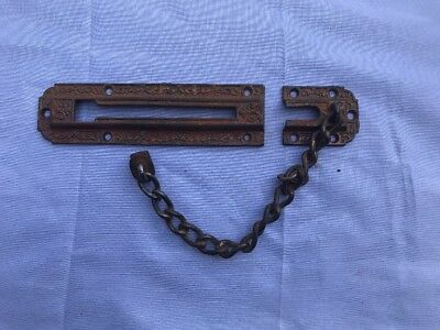 Victorian East Lake Cast Iron Chain Door Lock Hardware Collectible Antique