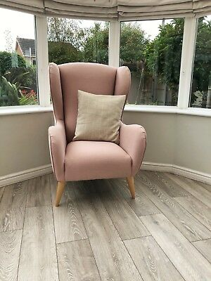 Ex Display Dusky Pink Wingback Accent Armchair & Laura Ashley Cushion Nursery