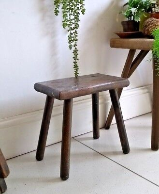 Old Antique Rustic Vintage Wooden Small Stool Original Milking Seat Chair 2