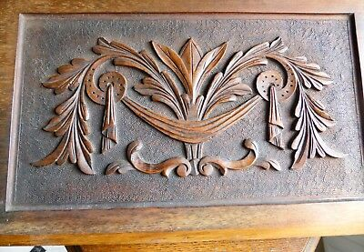 Salvaged Carved Mahogany Cupboard Door Panel. Acanthus Leaf & Swag Design