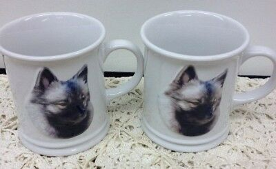 Set 2 Coffee Cup Mugs KEESHOND Raised 3-D Black White Dog Lover XPRES Originals