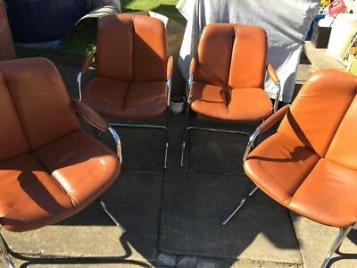 Tim Bates for Pieff England 4 dinning / office chairs leather