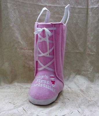 """Baby Girl's First Christmas 13"""" Stocking Boot Holiday"""
