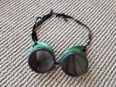 Vintage Retro Steampunk Welding Goggles Safety Sunglasses Green Round