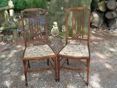 Matching Pair of Antique Edwardian inlaid mahogany bedroom / hall chairs