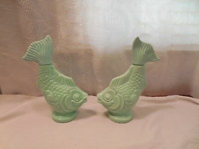 2 Vtg Avon Elusive Foaming Bath Oil Green Glass Fish Bottle 1 Empty, 1 Partially