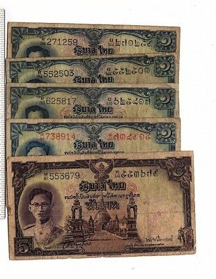 THAILAND SET 5 NOTES, 4 x 1 Baht  + 1 5 BAHT NOTES, 1 serial number red