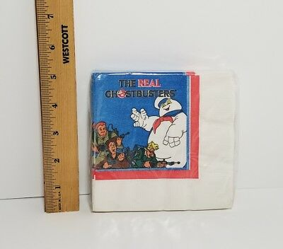 "NOS Sealed Vintage 1986 The Real Ghostbusters Pack of 16 Napkins 9 7/8"" x 10"""