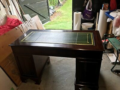 leather top office twin pedestal desk