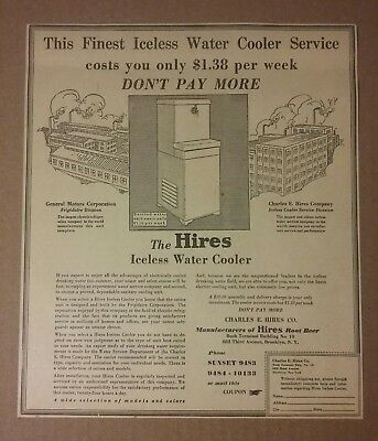 1929 Hires Iceless Water Cooler Ad Hires Rootbeer Soda Root beer