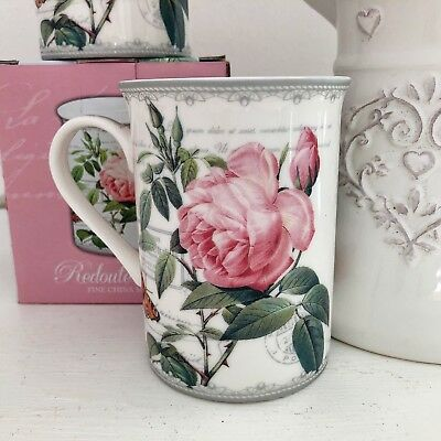 Set Of 6 Vintage Style Fine China Pink Redoute Rose Tea Coffee Mugs Cups 10 floz