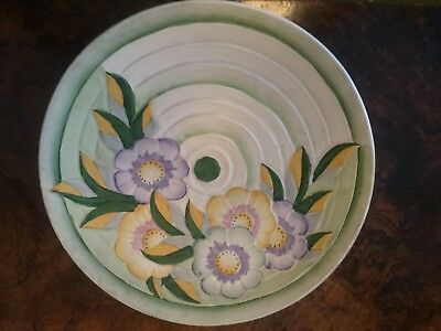 ART DECO HANCOCK'S IVORY WARE WALL PLATE CERAMIC FLORAL 1930s HAND PAINTED